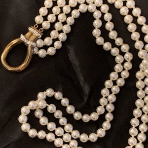 Vintage pearl necklace with sterling clip